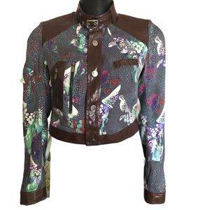 Custo Barcelona Silk Blend Crop Jacket Sz 8